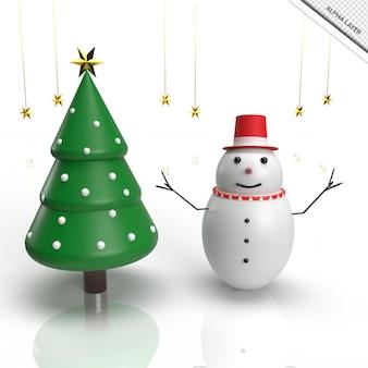 3d render árvore de natal com boneco de neve