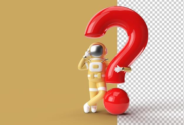 3d render astronaut com ponto de interrogação pensa, decepção, gesto caucasiano cansado