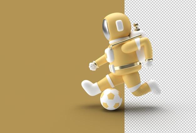 3d render astronaut está chutando o arquivo psd transparente da bola de futebol.