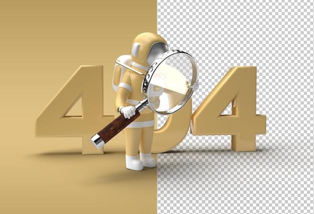 3d render astronaut holding magnify glass com 404 arquivo psd transparente.