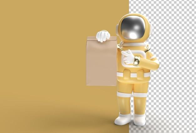 3d render astronaut man entregando um pacote