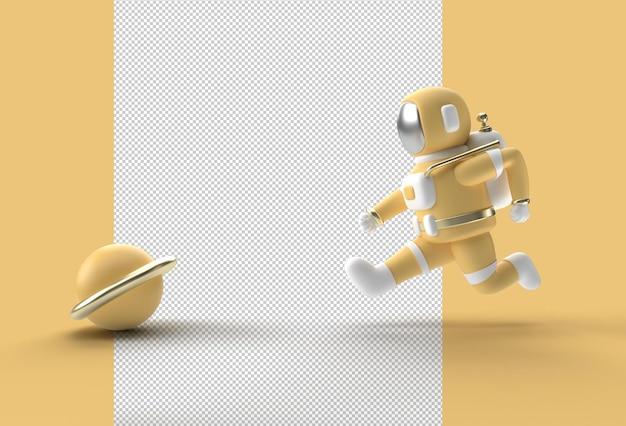 3d render astronaut runing transparent psd file.