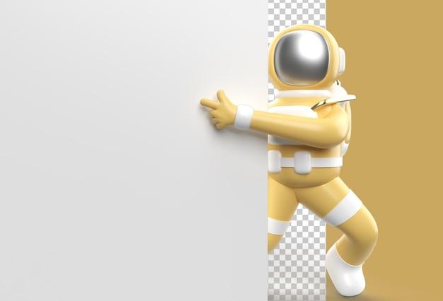 3d render astronaut segurando uma bandeira branca