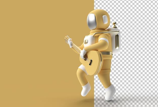 3d render astronaut tocando guitarra