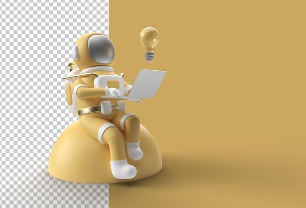 3d render astronaut trabalhando em laptop com bulb