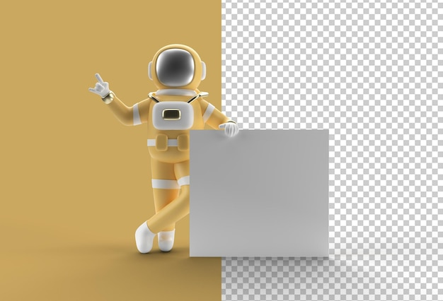 3d render astronauta apontando com a mão e segurando uma bandeira