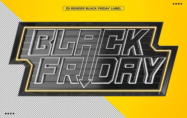 3d render autocolante preto sexta-feira amarelo