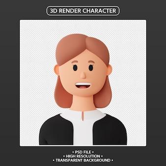 3d render avatar feminino de desenho animado