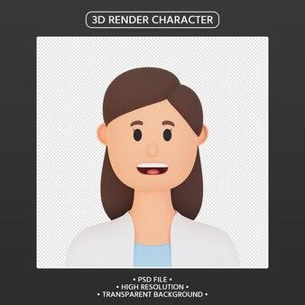 3d render avatar mulher em desenho animado