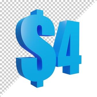 3d render azul 4 cifrão