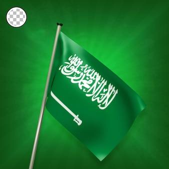 3d render bandeira da arábia saudita