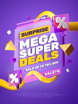 3d render banner colorido de promoção de desconto de venda