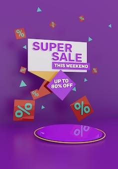 3d render banner colorido de promoção de super venda