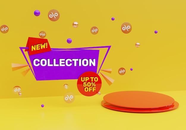 3d render banner de promoção de desconto de venda