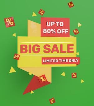 3d render banner de promoção de grande venda colorido