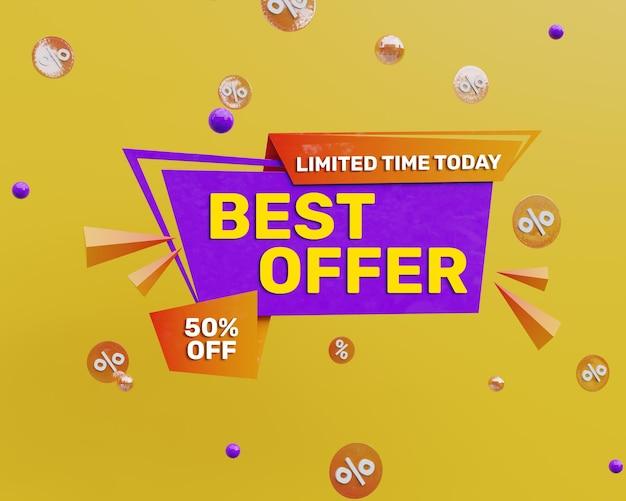 3d render banner de promoção de melhor oferta colorida