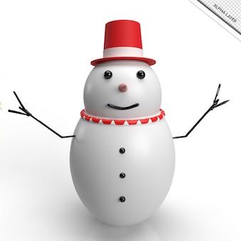 3d render boneco de neve com chapéu vermelho