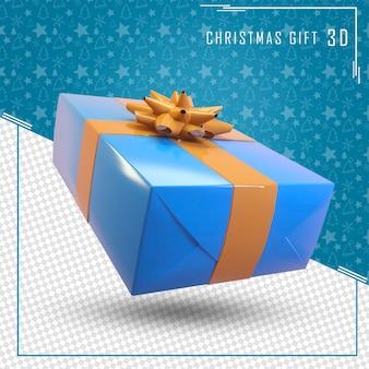 3d render caixa de presente azul para feliz natal