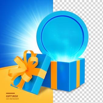 3d render caixa de presente do dia dos pais com luzes psd premium