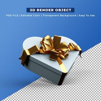 3d render caixa de presente em forma de coração branco