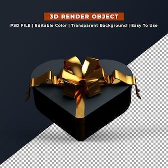 3d render caixa de presente em forma de coração preto
