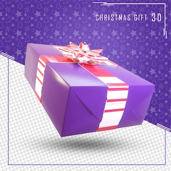 3d render caixa de presente para feliz natal