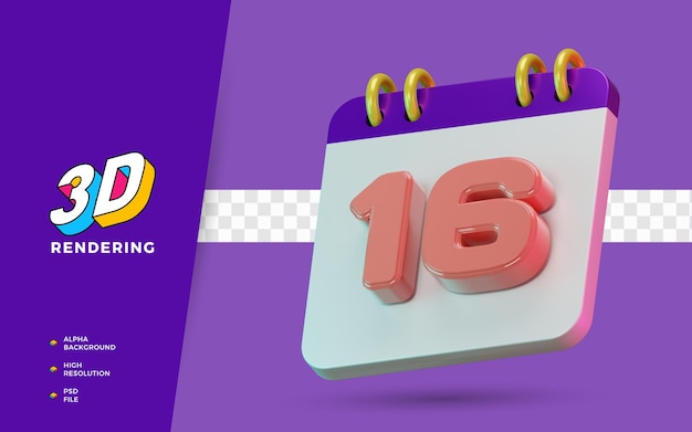 3d render calendário de símbolo isolado de 16 dias para lembrete diário ou planejamento