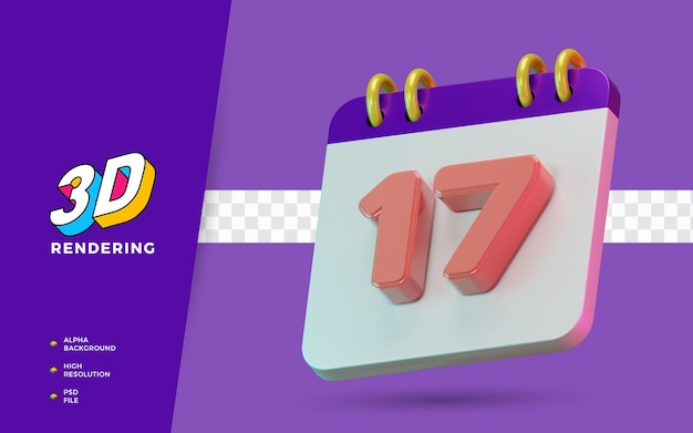 3d render calendário de símbolo isolado de 17 dias para lembrete diário ou planejamento
