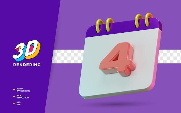 3d render calendário de símbolo isolado de 4 dias para lembrete diário ou planejamento