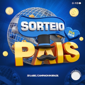 3d render campanha de sorteio de prêmios do dia dos pais no brasil