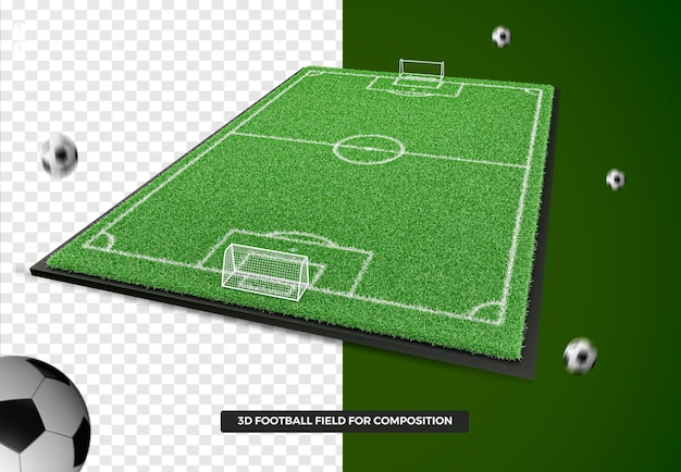 3d render campo de futebol deixado para composição