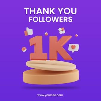 3d render celebração de 1k seguidores com modelo de design de postagem de mídia social no pódio