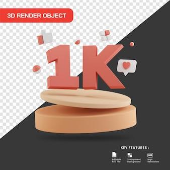 3d render celebração de 1k seguidores com pódio isolado