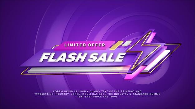 3d render colorido banner de venda em flash roxo
