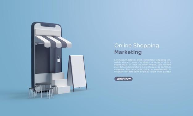 3d render compras online com celular