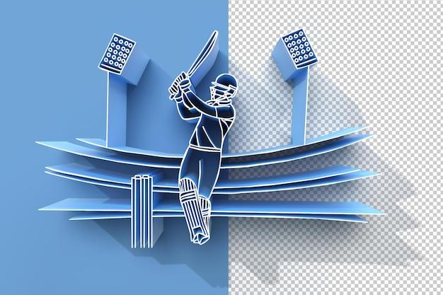 3d render conceito de batsman jogando críquete - campeonato