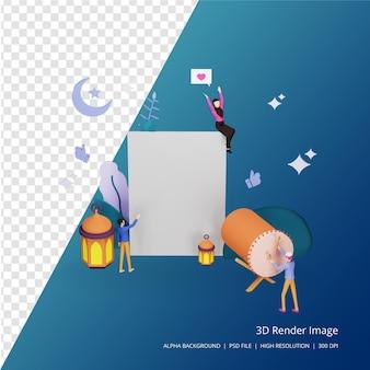 3d render conceito de ilustração de design islâmico