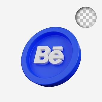 3d render conceito moeda do ícone de mídia social behance