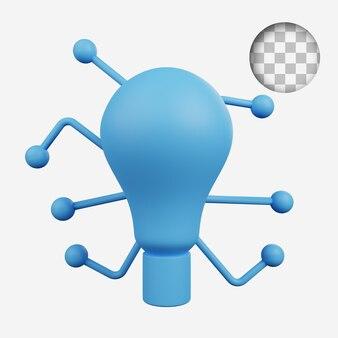 3d render conceito tecnologia ícone lâmpada tecnologia