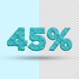 3d render concept 45 por cento de desconto premium psd premium psd