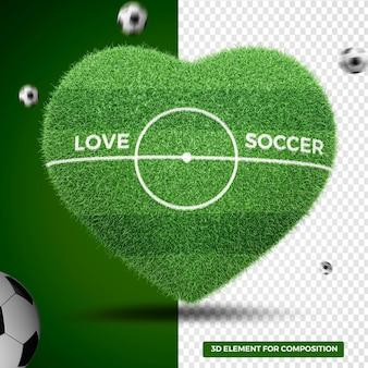 3d render, coração, amor, campo de futebol, grama, para, composição