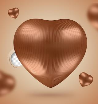 3d render coração de chocolate