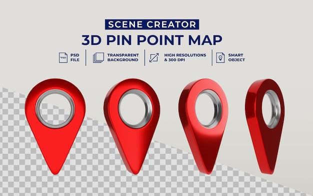 3d render criador de cena isolado de ícone de ponteiro de mapa vermelho