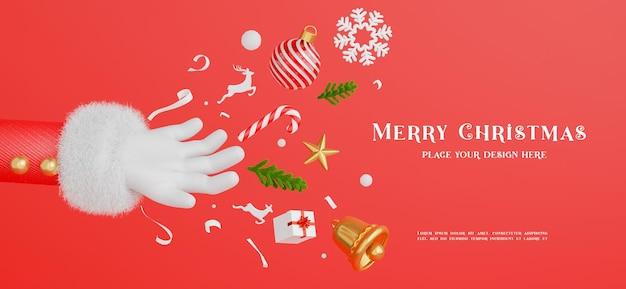3d render da mão do papai noel com decoração conceito de feliz natal para a exibição do seu produto