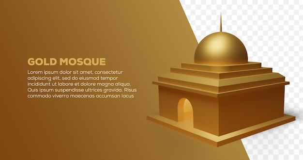3d render da mesquita de ouro em modelo dourado
