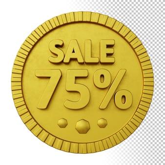3d render da venda 75% de desconto com emblema circular em negrito dourado isolado