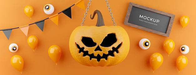 3d render de abóbora com decoração conceito de halloween