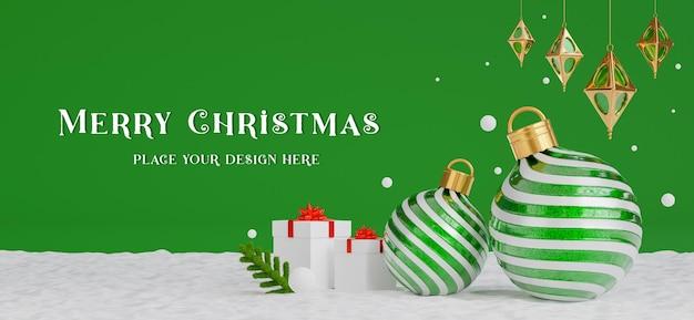 3d render de bola de natal com conceito de feliz natal para a exibição de seu produto, fundo vermelho