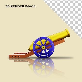 3d render de canhão para decoração islâmica