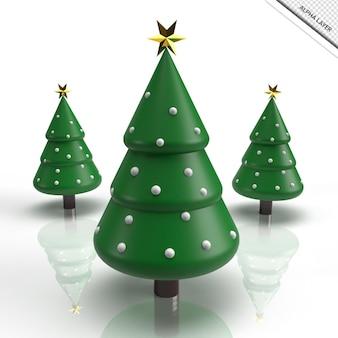 3d render decoração de árvore de natal